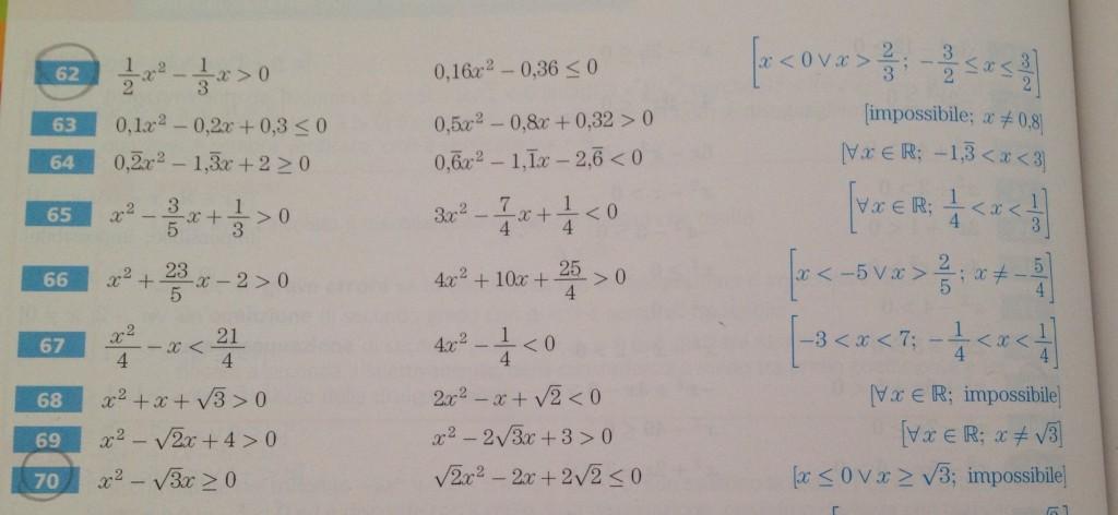 Disequazioni matebook part 5 - Tavola di tracciamento secondo grado ...